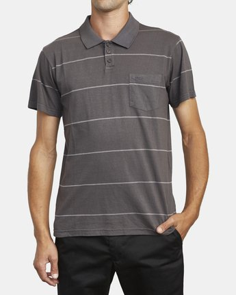 1 PTC STRIPE POLO SHORT SLEEVE SHIRT Black M9092RPS RVCA