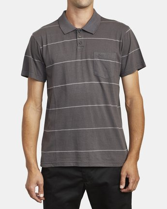 2 PTC STRIPE POLO SHORT SLEEVE SHIRT Black M9092RPS RVCA