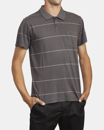 4 PTC STRIPE POLO SHORT SLEEVE SHIRT Black M9092RPS RVCA