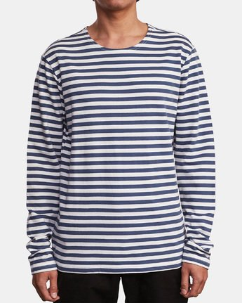 1 Parlou Striped Knit Long Sleeve Shirt Red M909WRPS RVCA