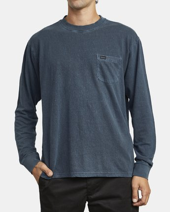 2 HARMONIA HEMP LONG SLEEVE TEE Blue M9103RHH RVCA
