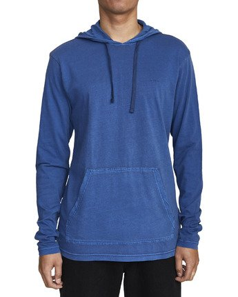 4 PTC PIGMENT HOODED LONG SLEEVE TEE Blue M915PRPH RVCA