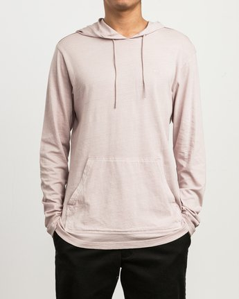 1 PTC PIGMENT HOODED LONG SLEEVE TEE Pink M915PRPH RVCA