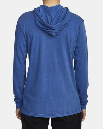 3 PTC PIGMENT HOODED LONG SLEEVE TEE Blue M915PRPH RVCA