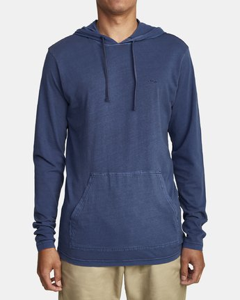 0 PTC PIGMENT HOODED LONG SLEEVE TEE Blue M915PRPH RVCA