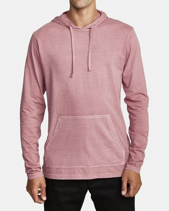 0 PTC PIGMENT HOODED LONG SLEEVE TEE Purple M915PRPH RVCA