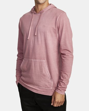 1 PTC PIGMENT HOODED LONG SLEEVE TEE Purple M915PRPH RVCA