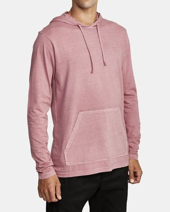 3 PTC PIGMENT HOODED LONG SLEEVE TEE Purple M915PRPH RVCA