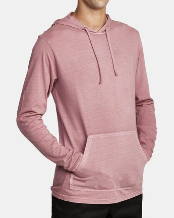4 PTC PIGMENT HOODED LONG SLEEVE TEE Purple M915PRPH RVCA