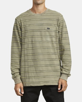 1 BLOOM PIQUE LONG SLEEVE KNIT TEE Green M9523RBP RVCA