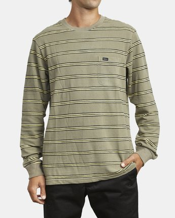 2 BLOOM PIQUE LONG SLEEVE KNIT TEE Green M9523RBP RVCA