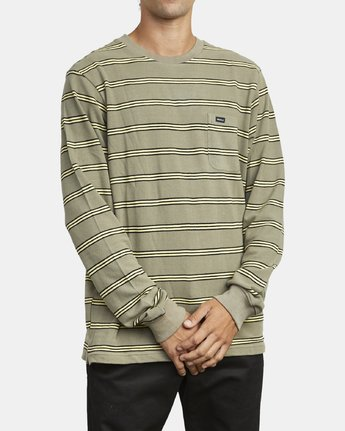 4 BLOOM PIQUE LONG SLEEVE KNIT TEE Green M9523RBP RVCA