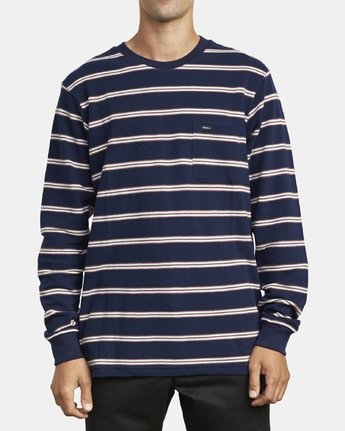 1 BLOOM PIQUE LONG SLEEVE KNIT TEE Blue M9523RBP RVCA