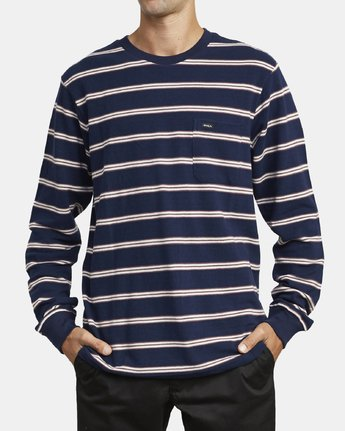 2 BLOOM PIQUE LONG SLEEVE KNIT TEE Blue M9523RBP RVCA