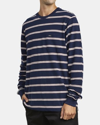 3 BLOOM PIQUE LONG SLEEVE KNIT TEE Blue M9523RBP RVCA