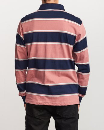 3 April Skies Long Sleeve Polo Pink M952VRAS RVCA