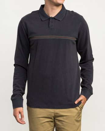 1 Andrew Reynolds Long Sleeve Polo Shirt Grey M954QRAP RVCA