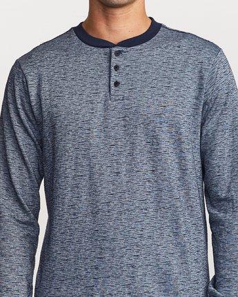 4 Lavish Henley Knit T-Shirt Blue M954VRLH RVCA