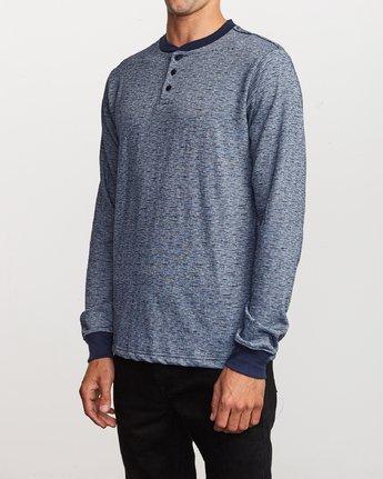 2 Lavish Henley Knit T-Shirt Blue M954VRLH RVCA