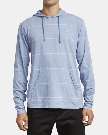 2 PTC STRIPE HOODED LONG SLEEVE TEE Blue M9553RPS RVCA