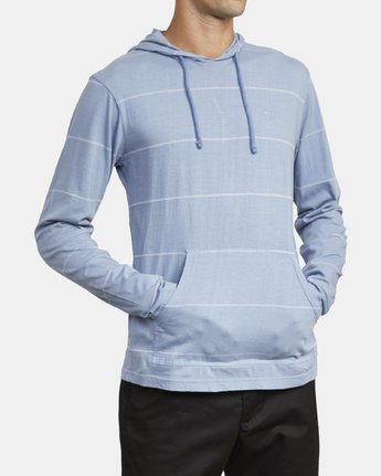 4 PTC STRIPE HOODED SHIRT Blue M9553RPS RVCA