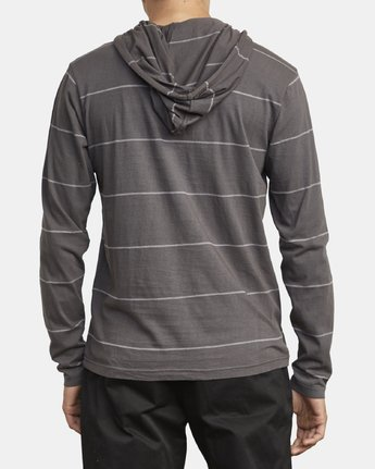 3 PTC STRIPE HOODED LONG SLEEVE TEE Black M9553RPS RVCA