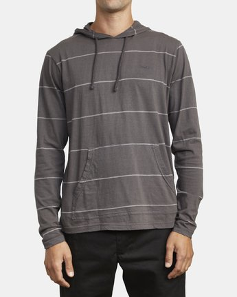 2 PTC STRIPE HOODED LONG SLEEVE TEE Black M9553RPS RVCA