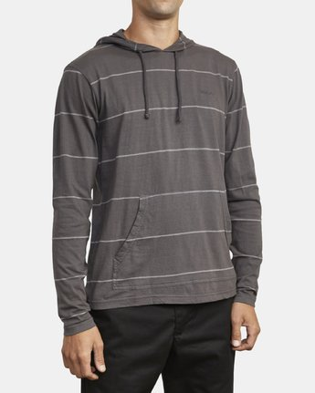 4 PTC STRIPE HOODED LONG SLEEVE TEE Black M9553RPS RVCA