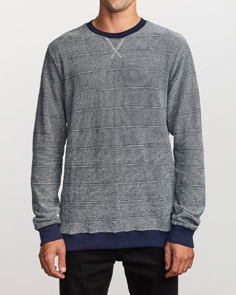 1 Luxury Long Sleeve Knit T-Shirt Blue M955VRLC RVCA