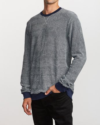 2 Luxury Long Sleeve Knit T-Shirt Blue M955VRLC RVCA