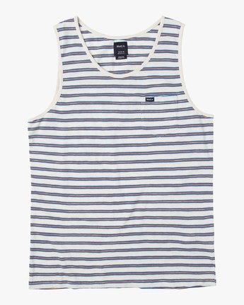 0 Vincent Stripe Knit Tank Top Silver M981URVS RVCA