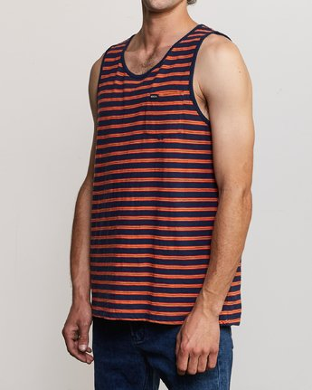 2 Vincent Stripe Knit Tank Top Blue M981URVS RVCA
