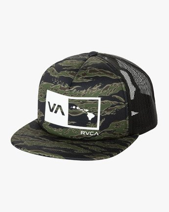 0 ISLANDS BALANCE BOX TRUCKER HAT Green MAHWMRIB RVCA