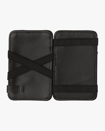 4 Leather Magic Wallet Black MAWASRML RVCA