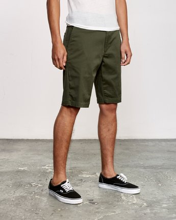6 Week-End Stretch Shorts Green MC202WKS RVCA