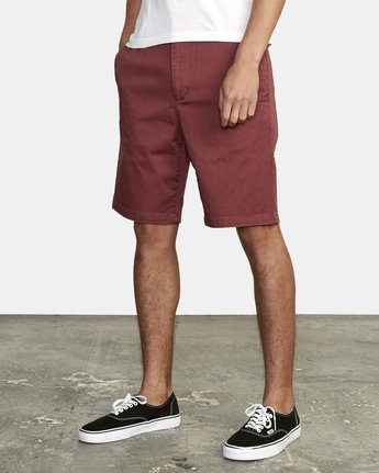 "4 week-end 20"" STRETCH SHORTS Red MC202WKS RVCA"
