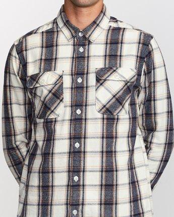 4 That'll Work Flannel Long Sleeve Shirt Silver MG519TWF RVCA