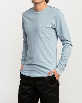 2 PTC Pigment Long Sleeve T-Shirt Blue ML921PPL RVCA