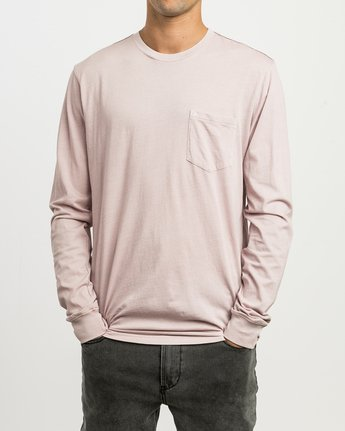 1 PTC Pigment Long Sleeve T-Shirt Pink ML921PPL RVCA