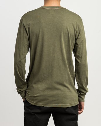 3 PTC Pigment Long Sleeve T-Shirt Green ML921PPL RVCA