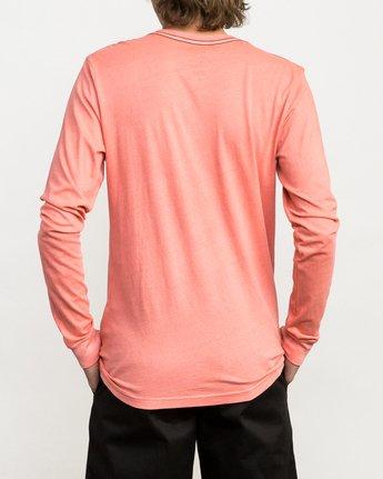 3 PTC Pigment Long Sleeve T-Shirt Pink ML921PPL RVCA