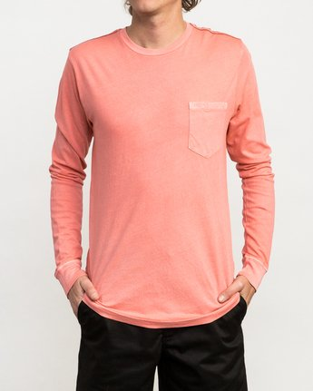 1 PTC Pigment Long Sleeve T-Shirt Pink ML921PPL RVCA