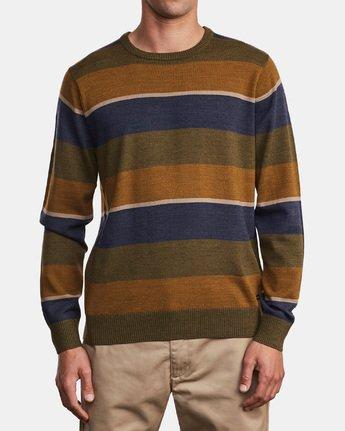 1 Kemper Striped Knit Sweater Green MV31WRKE RVCA