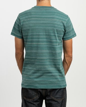3 Warren Stripe T-Shirt Green N1KTRBRVP9 RVCA