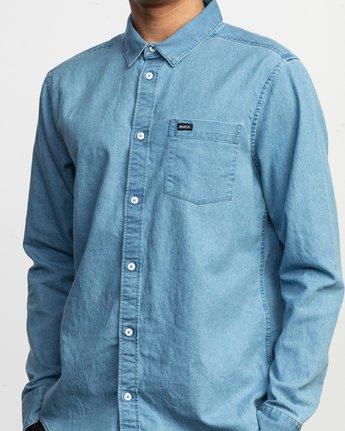 4 Nakama LS Denim Shirt Blue N1SHRTRVP9 RVCA