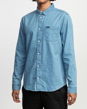 2 Nakama LS Denim Shirt Blue N1SHRTRVP9 RVCA