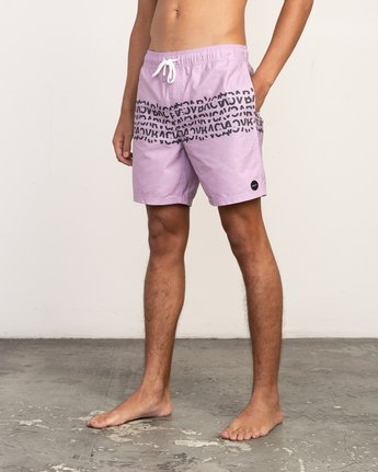 "2 Shattered Elastic Trunk - 17"" Boardshorts for Men Purple N1VORBRVP9 RVCA"