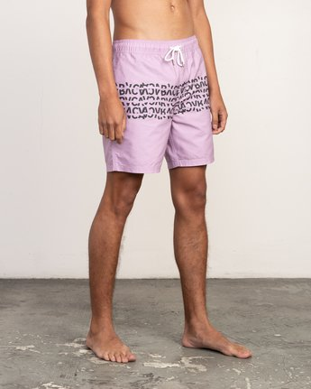 "6 Shattered Elastic Trunk - 17"" Boardshorts for Men Purple N1VORBRVP9 RVCA"