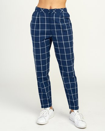 2 Hey Now - Grid Trousers for Women Blue N3PTRDRVP9 RVCA