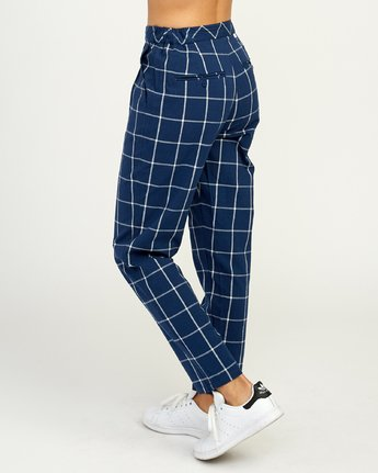 6 Hey Now - Grid Trousers for Women Blue N3PTRDRVP9 RVCA